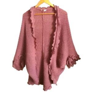 ANTHROPOLOGIE Wool Knit Ruffled Pink Cardigan
